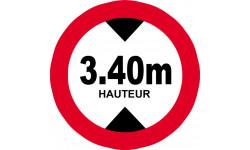 Sticker / autocollant : hauteur de passage maximum 3.40m - 20cm