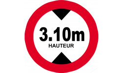Sticker / autocollant : hauteur de passage maximum 3.10m - 20cm