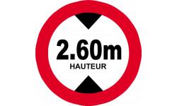 Sticker / autocollant : hauteur de passage maximum 2.60m - 20cm