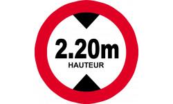 Sticker / autocollant : hauteur de passage maximum 2.20m - 20cm