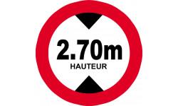 hauteur de vehicule maximum 2.7m