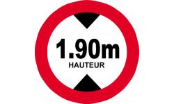 hauteur de vehicule maximum 1.9m