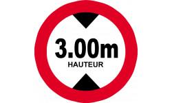 hauteur de vehicule maximum 3.0m