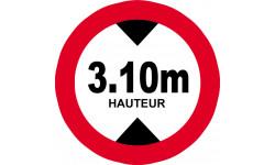 hauteur de vehicule maximum 3.1m