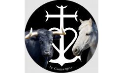 Autocollant Cheval et Taureau Camarguais