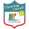 Sticker / autocollant : blason camping cariste Touraine 37 - 15x11.2cm