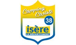 Sticker / autocollant : blason camping cariste Isère 38 - 15x11.2cm