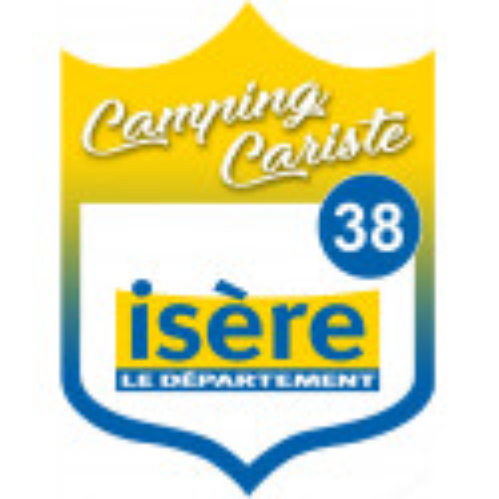 Sticker / autocollant : blason camping cariste Isère 38 - 10x7.5cm