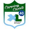 Sticker / autocollant : blason camping cariste Landes 40 - 15x11.2cm
