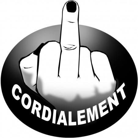 Sticker / autocollant - doigt d'honneur cordialement - 20cm