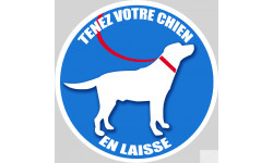 Sticker / autocollant : Tenez votre chien en laisse - 10cm