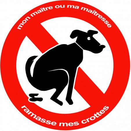 Sticker / autocollant : Stop aux crottes de chiens - 15cm
