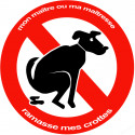 Sticker / autocollant : Stop aux crottes de chiens - 20cm