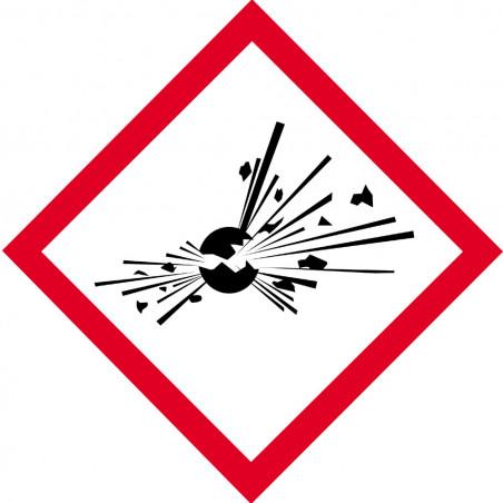 Sticker /autocollant : produits peuvent exploser - 15cm