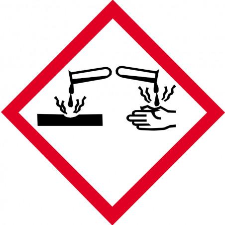 Sticker / autocollant : produits corrosifs - 15cm