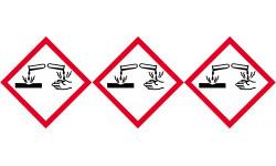Sticker / autocollant : produits corrosifs - 3 fois 5cm