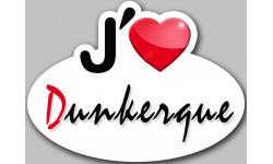 Sticker / autocollant : j'aime Dunkerque - 13x10cm
