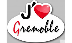 Sticker / autocollant : j'aime Grenoble - 13x10cm
