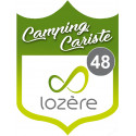 Sticker / autocollant : blason camping cariste Lozère 48 - 10x7.5cm