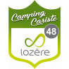 Sticker / autocollant : blason camping cariste Lozère 48 - 15x11.2cm