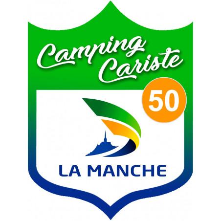 Sticker / autocollant : blason camping cariste Manche 50 - 10x7.5cm