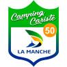 Sticker / autocollant : blason camping cariste Manche 50 - 15x11.2cm