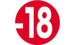 autocollant interdit moins 18 ans rouge