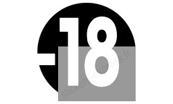 autocollant interdit moins 18 ans noir