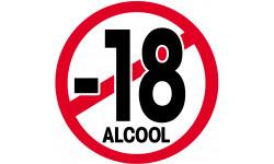 autocollant interdit moins 18 ans alcool