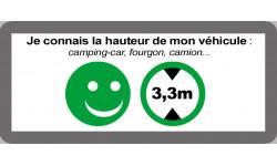 Sticker / autocollant : hauteur de passage de véhicule 2,5m oui - 9x4cm