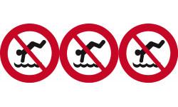 Sticker / autocollant : pictogramme interdit de plonger - 3x10cm