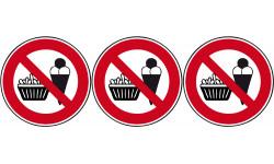 Sticker / autocollant : pictogramme interdit de manger - 3x10cm