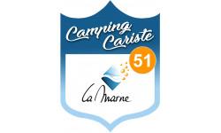 Sticker / autocollant : blason camping cariste La Marne 51 - 15x11,2cm