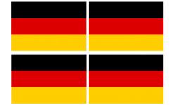 Sticker / autocollant : drapeau officiel Allemand - 4 stickers de 9.5X6.3 cm