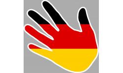 Sticker / autocollant : drapeau Allemand main - 15cm