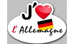 Sticker / autocollant : autocollant j'aime l'Allemagne - 15x11cm