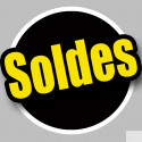 Sticker / autocollant : Solde Rond noir et jaune - 15cm