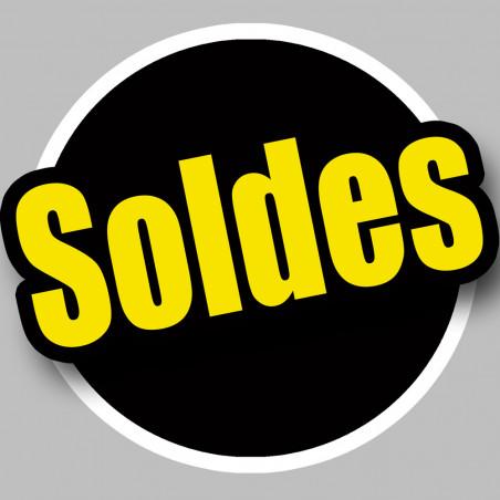 Sticker / autocollant : Solde Rond noir et jaune - 10cm