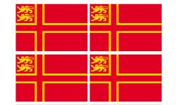 Sticker / autocollant : drapeau Normand avec Lions - 4 stickers - 9.5 x 6.3 cm