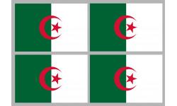 Sticker / autocollant : Drapeau Algérie - 4 stickers - 9.5 x 6.3 cm