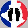 sticker / autocollant : Pieds noirs carte Franco Algérienne - 5cm