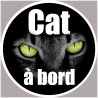Sticker / autocollant : Autocollants : Cat à bord - 5cm