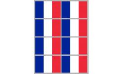 Sticker / autocollant : Drapeau France - 8 stickers - 9.5 x 6.3 cm