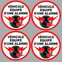Sticker / autocollant : véhicule sous alarme 4 stickers de 5cm