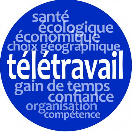 Stickers / autocollant : télétravail - 5cm