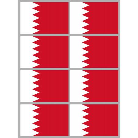 Sticker / autocollant : Drapeau Bahrain - 8 stickers - 9.5 x 6.3 cm