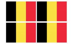 Sticker / autocollant : Drapeau Belgique - 4 stickers - 9.5 x 6.3 cm