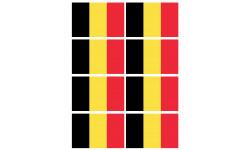 Sticker / autocollant : Drapeau Belgique - 8 stickers - 9.5 x 6.3 cm