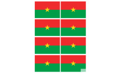 Sticker / autocollant : Drapeau Burkina Faso - 8 stickers - 9.5 x 6.3 cm