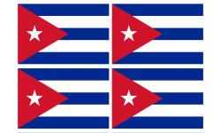 Sticker / autocollant : Drapeau Cuba - 4 stickers - 9.5 x 6.3 cm